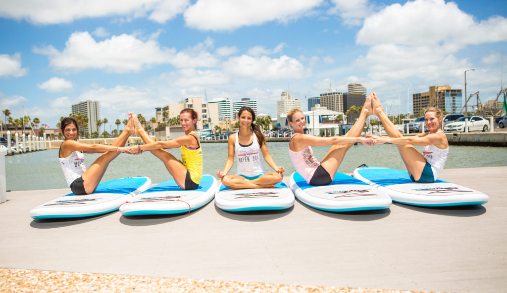 Double Boat Pose on SUP