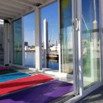 Yoga inside the houseboat studio