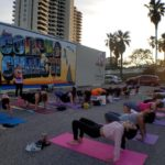 Water Dog yoga in downtown Corpus Christi