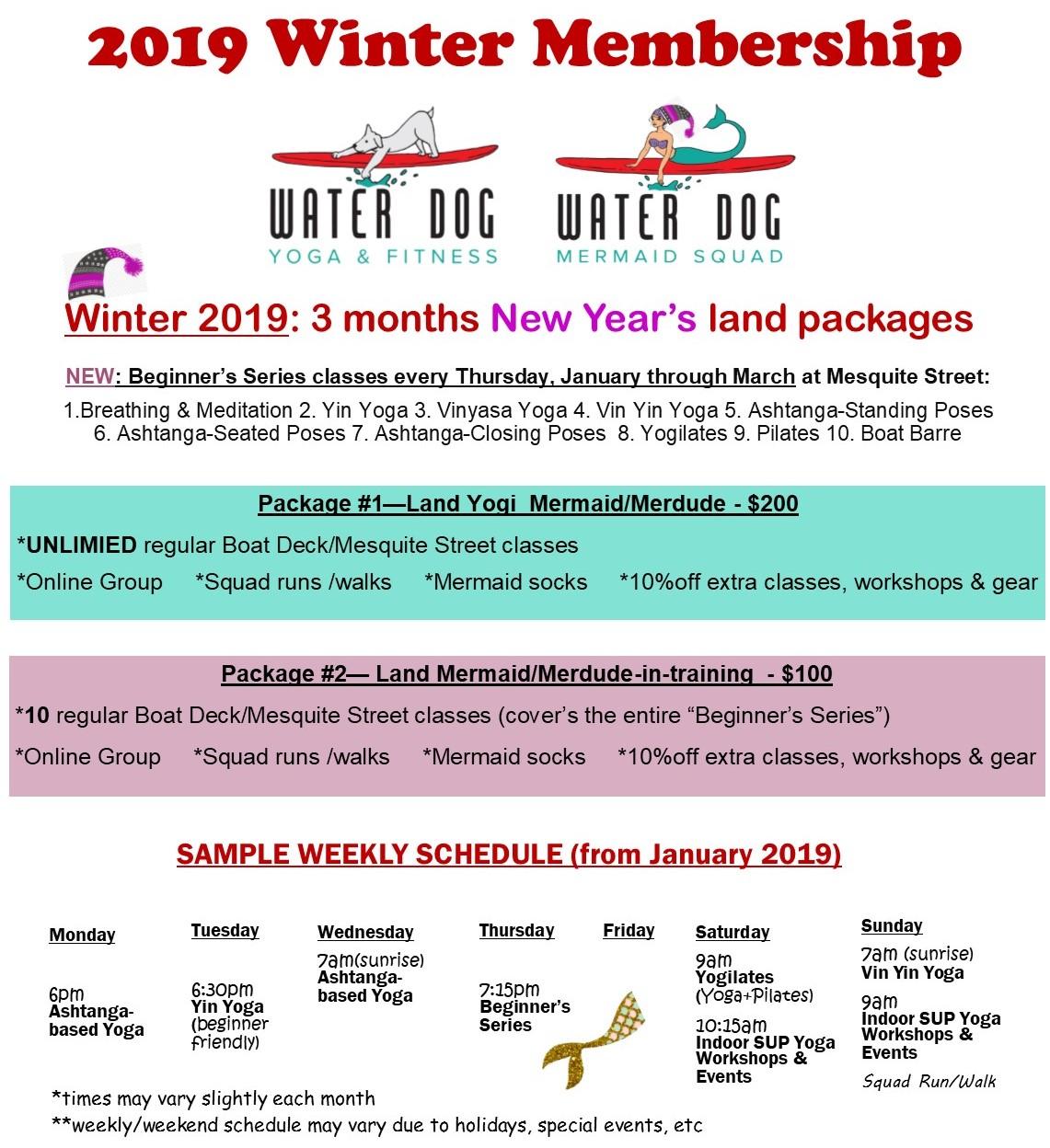 Water Dog Yoga membership programs for 2019
