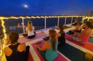 Full moon yoga at Water Dog in Corpus Christi, Texas