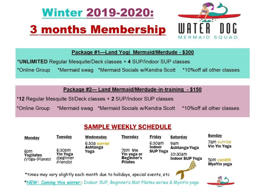 Water Dog MERMAID SQUAD Winter 2019-2020 membership packages
