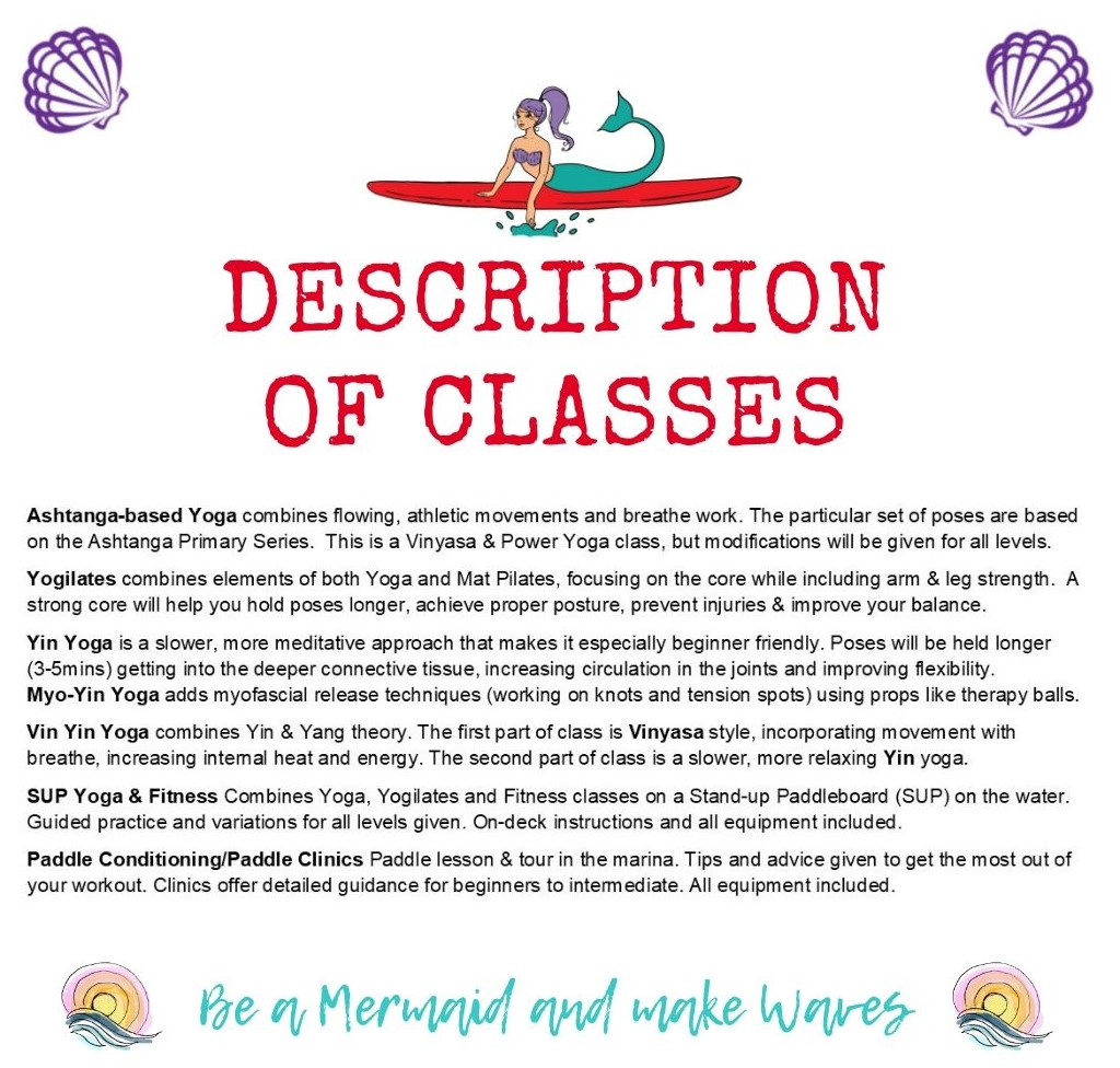Description of yoga classes. Water Dog Yoga Corpus Christi, TX